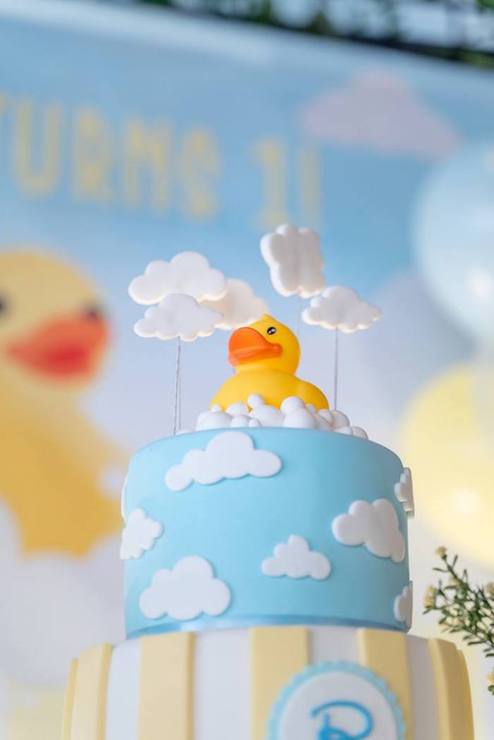 Rubber Duck Cake Top from a Rubber Duck Birthday Party on Kara's Party Ideas | KarasPartyIdeas.com (7)