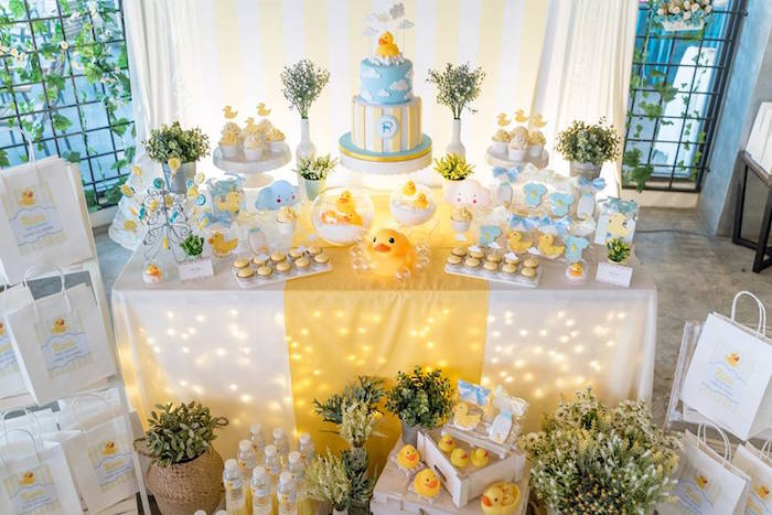 Rubber Duck Themed Dessert Table from a Rubber Duck Birthday Party on Kara's Party Ideas | KarasPartyIdeas.com (4)