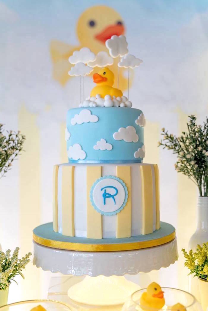 Rubber Duck Themed Birthday Cake from a Rubber Duck Birthday Party on Kara's Party Ideas | KarasPartyIdeas.com (2)
