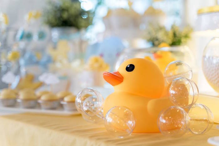 Rubber duck decoration covered with bubbles from a Rubber Duck Birthday Party on Kara's Party Ideas | KarasPartyIdeas.com (15)