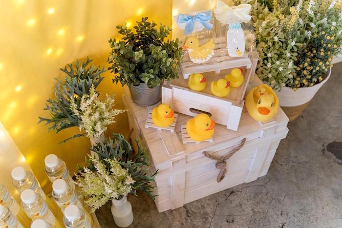 Rubber Ducks & Greenery from a Rubber Duck Birthday Party on Kara's Party Ideas | KarasPartyIdeas.com (14)