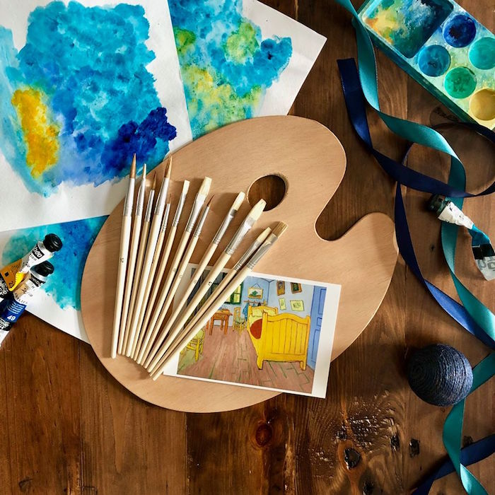 Brushes + Paint Palette from a Rustic Art Birthday Party on Kara's Party Ideas | KarasPartyIdeas.com (7)