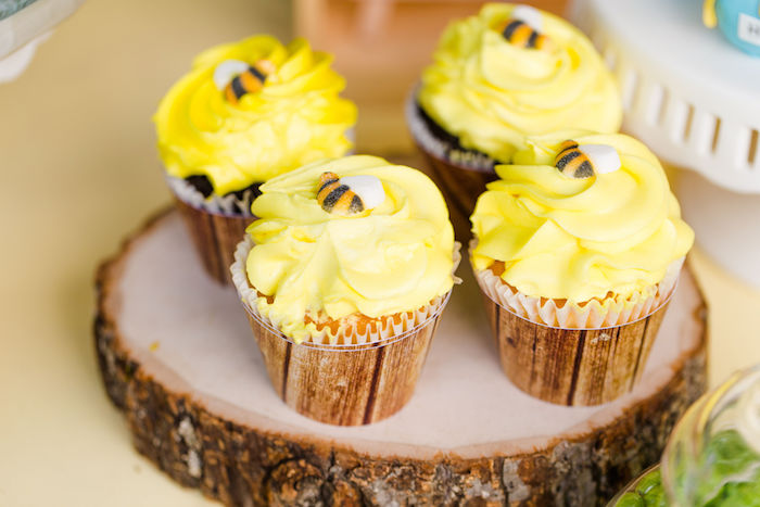 Honey Bee Cupcakes from a Rustic Chic Classic Winnie the Pooh Party on Kara's Party Ideas | KarasPartyIdeas.com (23)