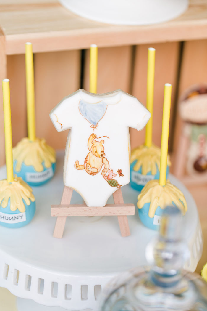 Winnie the Pooh Onesie Cookie from a Rustic Chic Classic Winnie the Pooh Party on Kara's Party Ideas | KarasPartyIdeas.com (22)