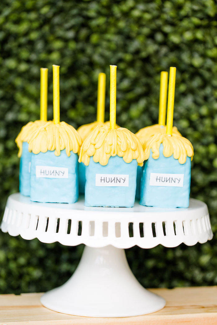 """""""Hunny"""" Jar Rice Krispie Treats from a Rustic Chic Classic Winnie the Pooh Party on Kara's Party Ideas 