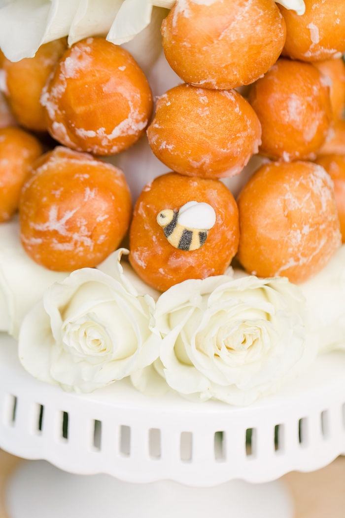 Honey Bee Doughnut Holes from a Rustic Chic Classic Winnie the Pooh Party on Kara's Party Ideas | KarasPartyIdeas.com (19)
