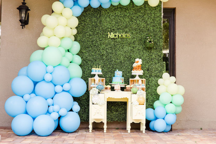 Pastel Balloon Dessert Spread from a Rustic Chic Classic Winnie the Pooh Party on Kara's Party Ideas | KarasPartyIdeas.com (18)