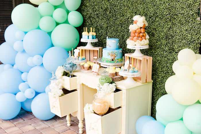 Pastel Dessert Table from a Rustic Chic Classic Winnie the Pooh Party on Kara's Party Ideas | KarasPartyIdeas.com (17)