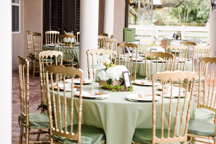 Green + Gold Guest Tables from a Rustic Chic Classic Winnie the Pooh Party on Kara's Party Ideas | KarasPartyIdeas.com (16)