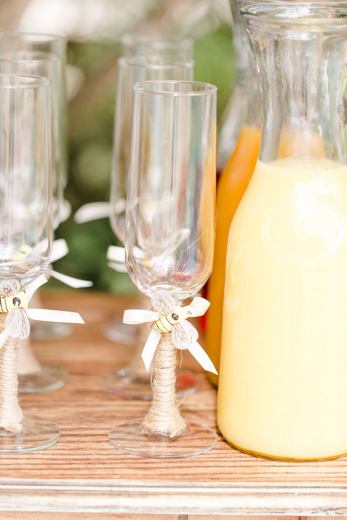 Wine Glasses wrapped with Twine and Bees from a Rustic Chic Classic Winnie the Pooh Party on Kara's Party Ideas | KarasPartyIdeas.com (15)