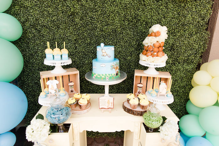 Winnie the Pooh Themed Dessert Table from a Rustic Chic Classic Winnie the Pooh Party on Kara's Party Ideas | KarasPartyIdeas.com (12)