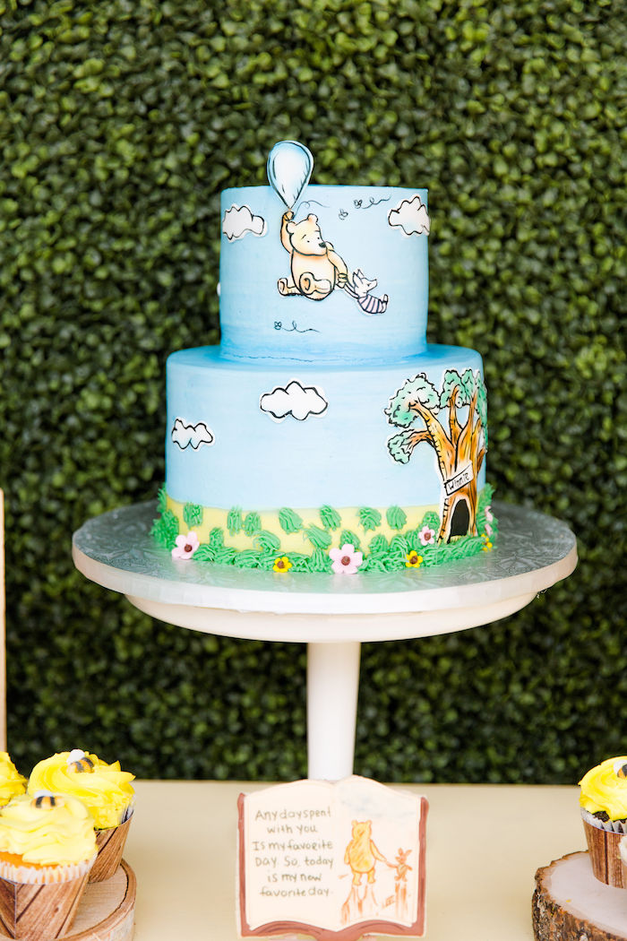 Winnie the Pooh Cake from a Rustic Chic Classic Winnie the Pooh Party on Kara's Party Ideas | KarasPartyIdeas.com (11)