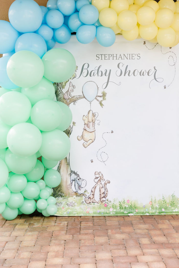 Winnie the Pooh Balloon Backdrop from a Rustic Chic Classic Winnie the Pooh Party on Kara's Party Ideas | KarasPartyIdeas.com (9)