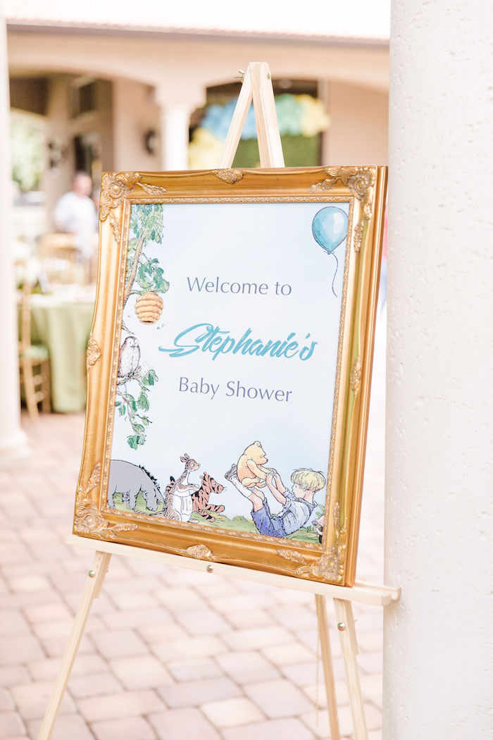 Winnie the Pooh Welcome Sign from a Rustic Chic Classic Winnie the Pooh Party on Kara's Party Ideas | KarasPartyIdeas.com (7)