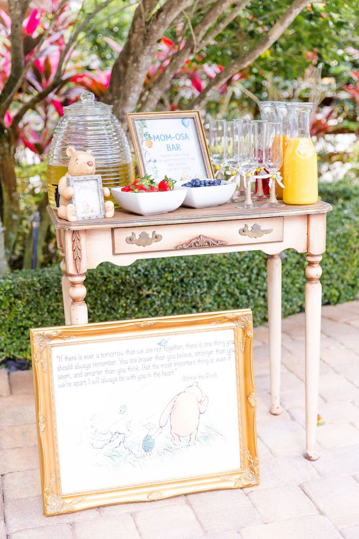 Mom-osa Bar from a Rustic Chic Classic Winnie the Pooh Party on Kara's Party Ideas | KarasPartyIdeas.com (6)