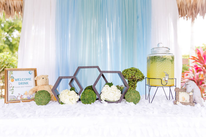 Welcome Beverage Table from a Rustic Chic Classic Winnie the Pooh Party on Kara's Party Ideas | KarasPartyIdeas.com (5)