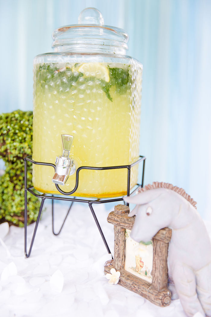 Lemonade + Beverage Dispenser from a Rustic Chic Classic Winnie the Pooh Party on Kara's Party Ideas | KarasPartyIdeas.com (4)