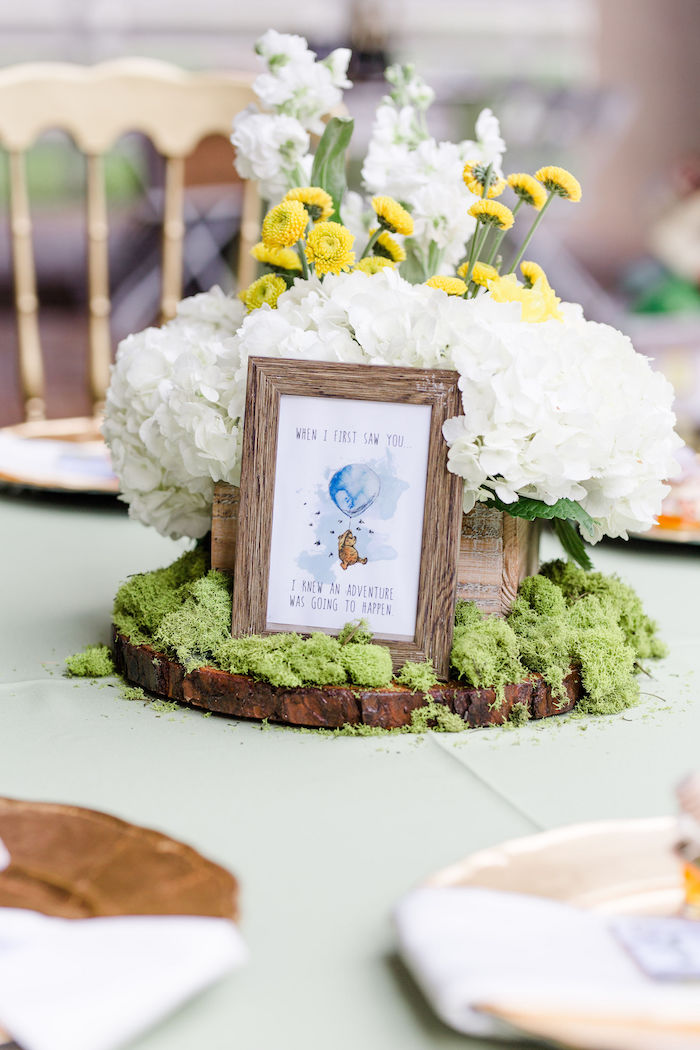 Floral Winnie The Pooh Table Centerpiece from a Rustic Chic Classic Winnie the Pooh Party on Kara's Party Ideas | KarasPartyIdeas.com (31)