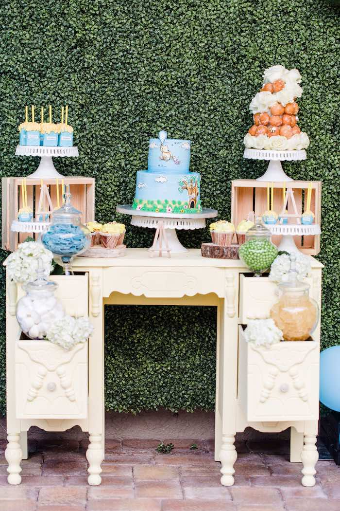 Winnie the Pooh Dessert Table from a Rustic Chic Classic Winnie the Pooh Party on Kara's Party Ideas | KarasPartyIdeas.com (29)