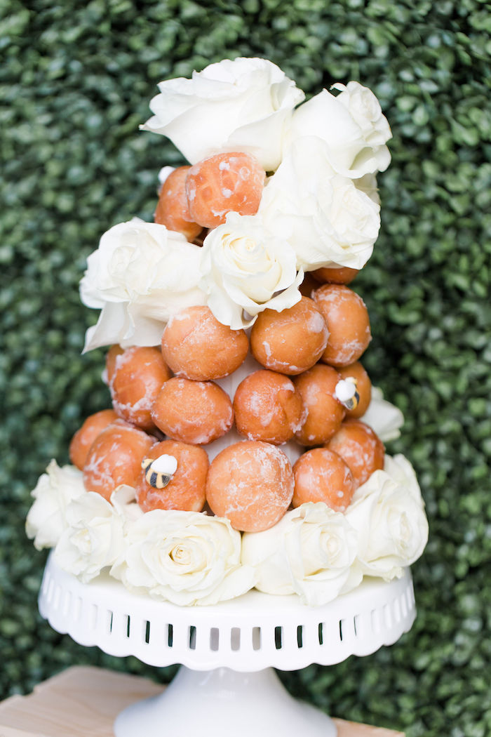 Honey Bee Doughnut Hole Tower from a Rustic Chic Classic Winnie the Pooh Party on Kara's Party Ideas | KarasPartyIdeas.com (28)