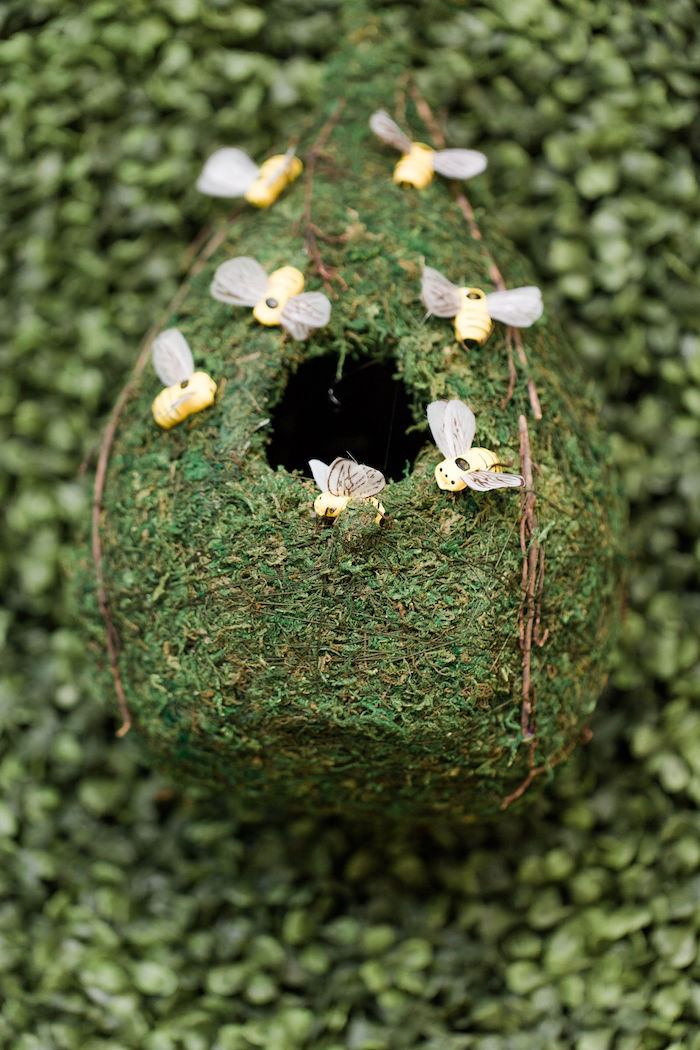 Moss Beehive Decoration from a Rustic Chic Classic Winnie the Pooh Party on Kara's Party Ideas | KarasPartyIdeas.com (27)