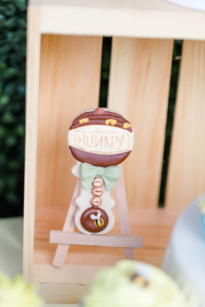 Hunny Jar Baby Rattle Cookie from a Rustic Chic Classic Winnie the Pooh Party on Kara's Party Ideas | KarasPartyIdeas.com (26)