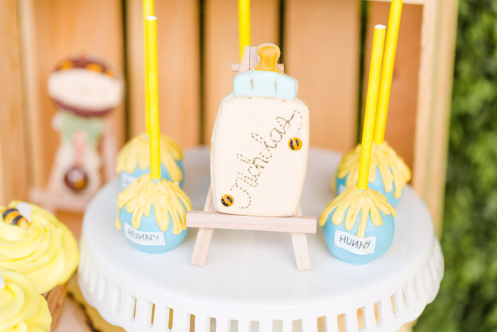 Baby Bottle Cookie + Hunny Jar Cake Pops from a Rustic Chic Classic Winnie the Pooh Party on Kara's Party Ideas | KarasPartyIdeas.com (25)
