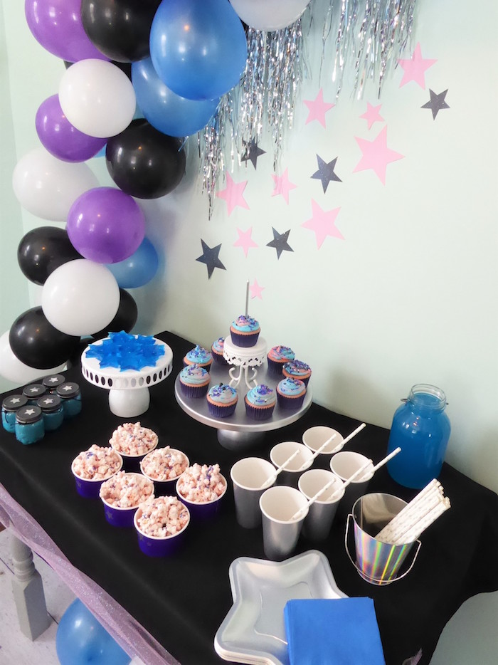 Galaxy + Star Dessert Table from a Twinkling Star Galaxy Party on Kara's Party Ideas | KarasPartyIdeas.com