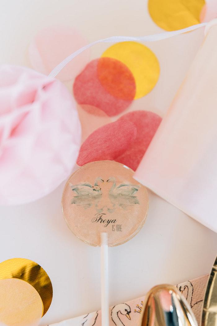 Swan Lollipop from a Stylish Swan Birthday Party on Kara's Party Ideas | KarasPartyIdeas.com (23)
