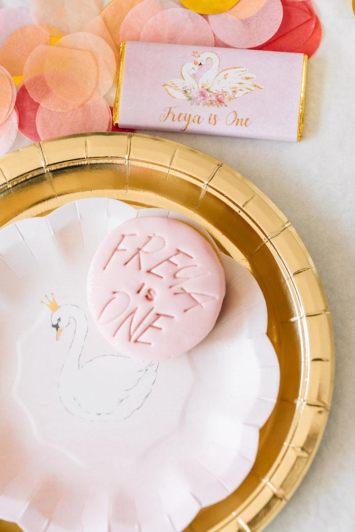 Custom Sugar Cookie from a Stylish Swan Birthday Party on Kara's Party Ideas | KarasPartyIdeas.com (20)