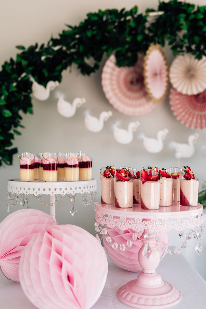 White + Pink Dessert Tables from a Stylish Swan Birthday Party on Kara's Party Ideas | KarasPartyIdeas.com (19)