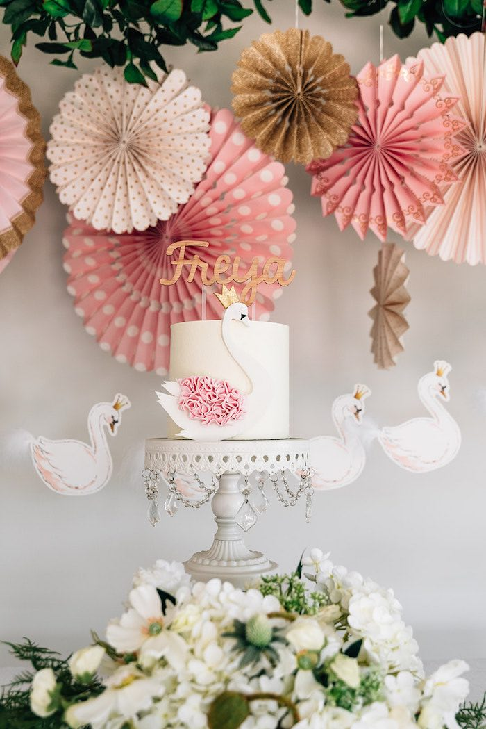 Swan Cake from a Stylish Swan Birthday Party on Kara's Party Ideas | KarasPartyIdeas.com (18)