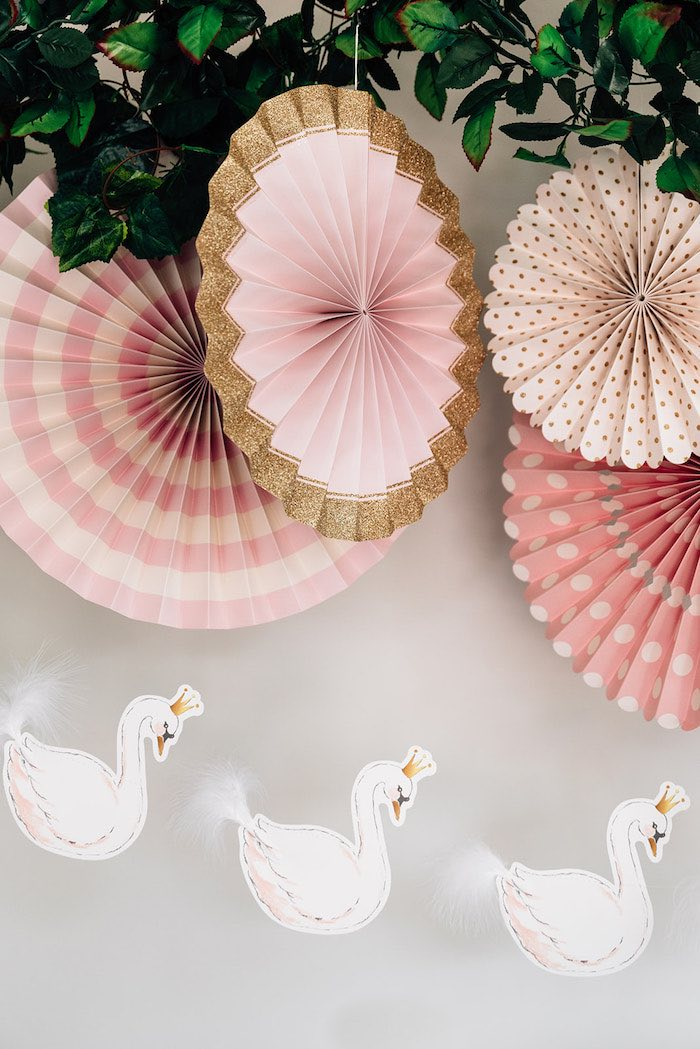 Swan Banner Paper Fan Backdrop from a Stylish Swan Birthday Party on Kara's Party Ideas | KarasPartyIdeas.com (17)
