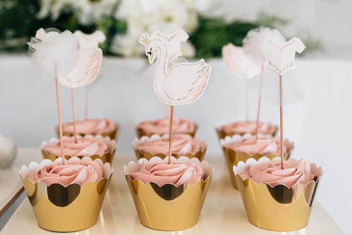 Swan Cupcakes from a Stylish Swan Birthday Party on Kara's Party Ideas | KarasPartyIdeas.com (15)