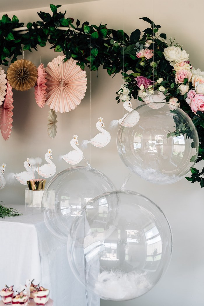 Clear Hanging Balloons from a Stylish Swan Birthday Party on Kara's Party Ideas | KarasPartyIdeas.com (11)