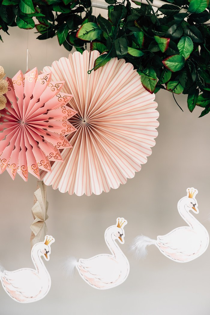 Paper Fans paired with a Swan Banner from a Stylish Swan Birthday Party on Kara's Party Ideas | KarasPartyIdeas.com (9)