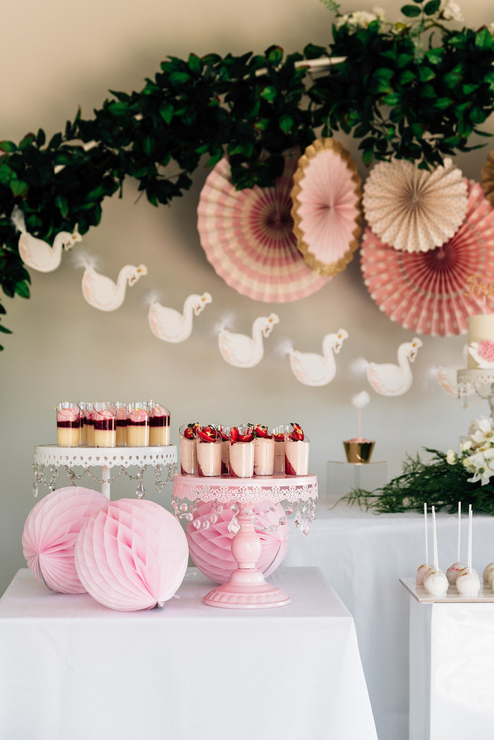 Swan-inspired Sweet Table from a Stylish Swan Birthday Party on Kara's Party Ideas | KarasPartyIdeas.com (32)