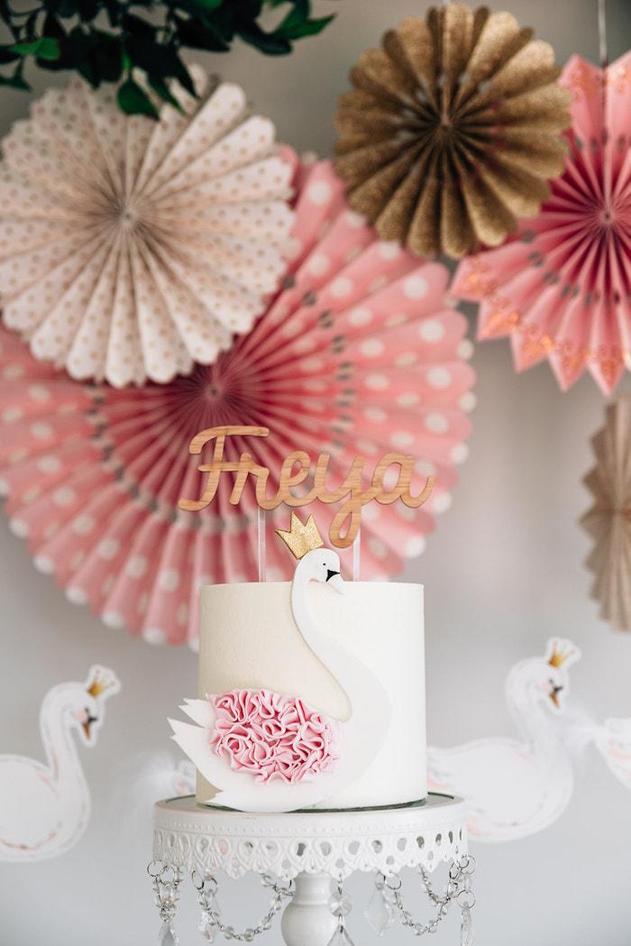 Swan Cake from a Stylish Swan Birthday Party on Kara's Party Ideas | KarasPartyIdeas.com (29)
