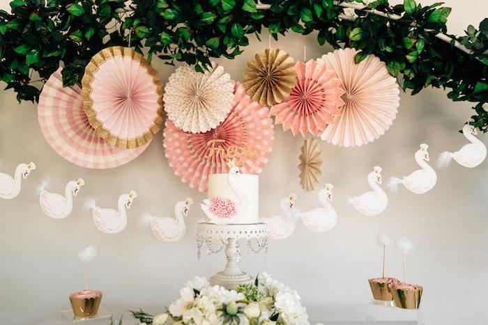 Swan Themed Cake Table from a Stylish Swan Birthday Party on Kara's Party Ideas | KarasPartyIdeas.com (26)
