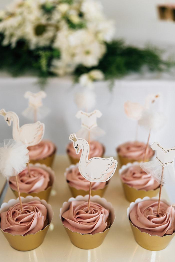 Swan Cupcakes from a Stylish Swan Birthday Party on Kara's Party Ideas | KarasPartyIdeas.com (25)