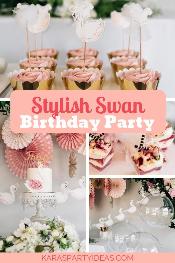 Stylish Swan Birthday Party via Kara's Party Ideas - KarasPartyIdeas.com