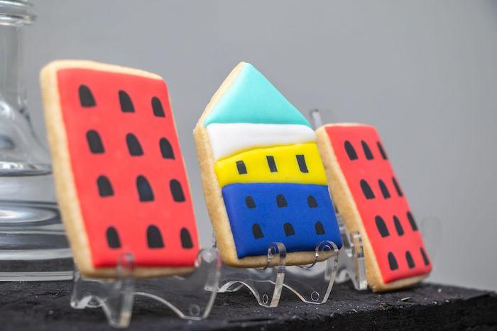 Cityscape Cookies from a Superhero Birthday Party on Kara's Party Ideas | KarasPartyIdeas.com (18)