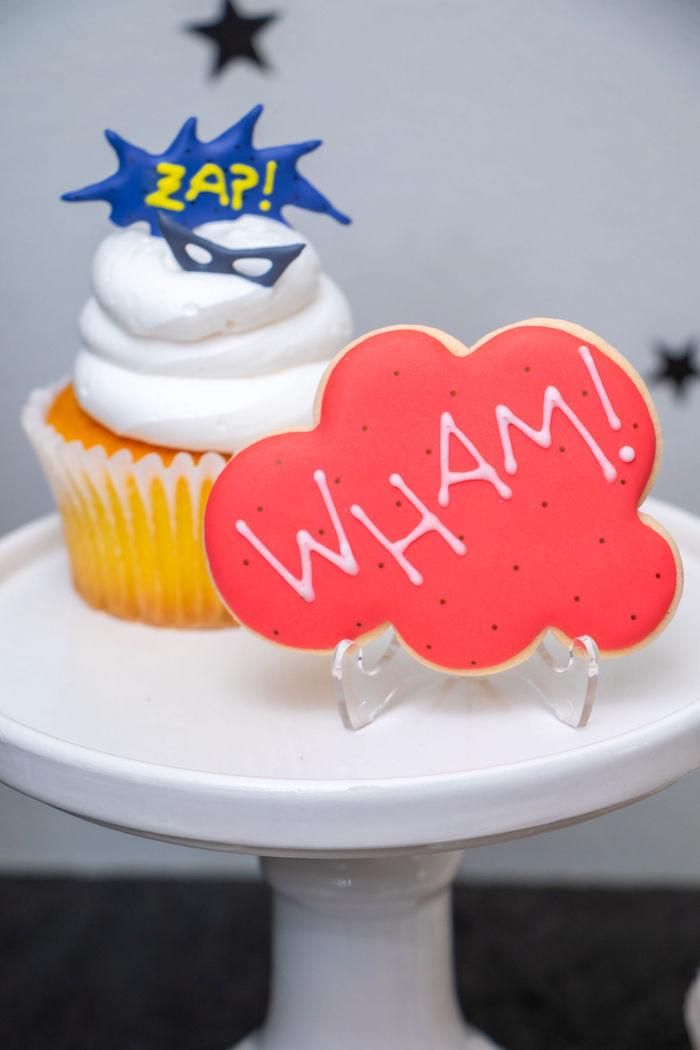 Wham Cookie from a Superhero Birthday Party on Kara's Party Ideas | KarasPartyIdeas.com (17)