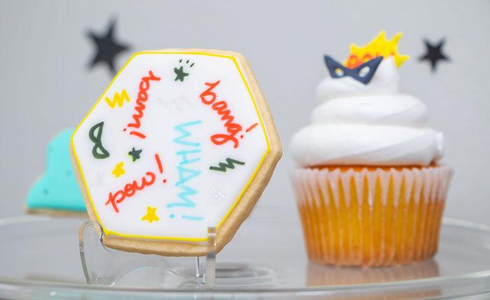 Superhero Themed Cookie + Cupcake from a Superhero Birthday Party on Kara's Party Ideas | KarasPartyIdeas.com (16)