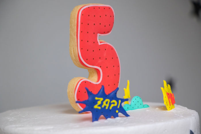 Cookie Cake Topper from a Superhero Birthday Party on Kara's Party Ideas | KarasPartyIdeas.com (15)