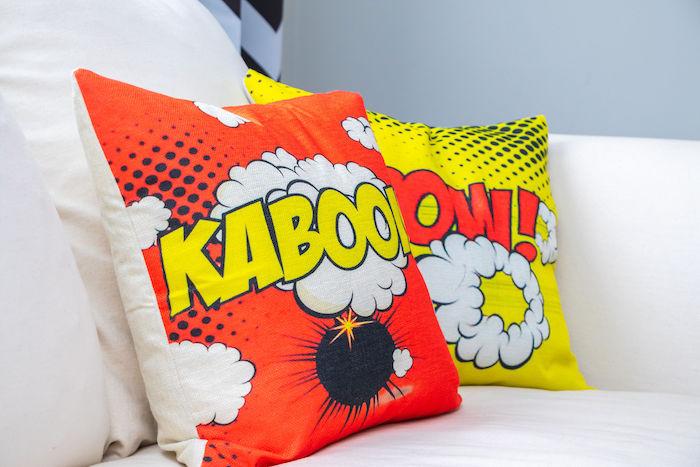 Kaboom + Pow Pillows from a Superhero Birthday Party on Kara's Party Ideas | KarasPartyIdeas.com (12)