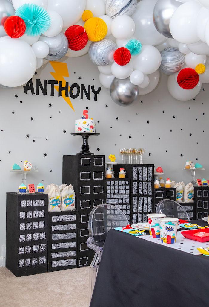 Cityscape Dessert Spread from a Superhero Birthday Party on Kara's Party Ideas | KarasPartyIdeas.com (10)