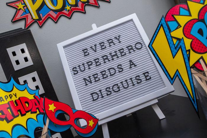 Superhero-inspired Letter Board Decoration from a Superhero Birthday Party on Kara's Party Ideas | KarasPartyIdeas.com (27)