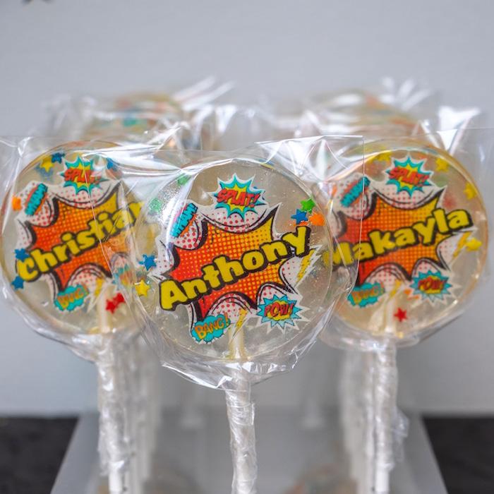 Superhero Lollipops from a Superhero Birthday Party on Kara's Party Ideas | KarasPartyIdeas.com (7)