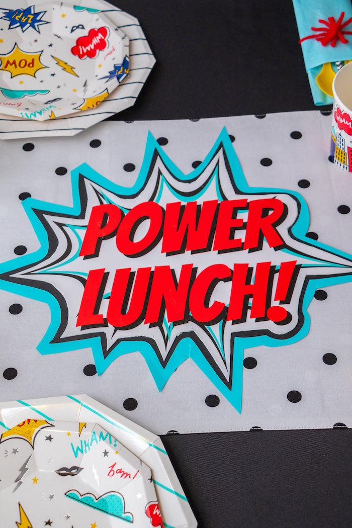 Power Lunch Table Runner from a Superhero Birthday Party on Kara's Party Ideas | KarasPartyIdeas.com (25)